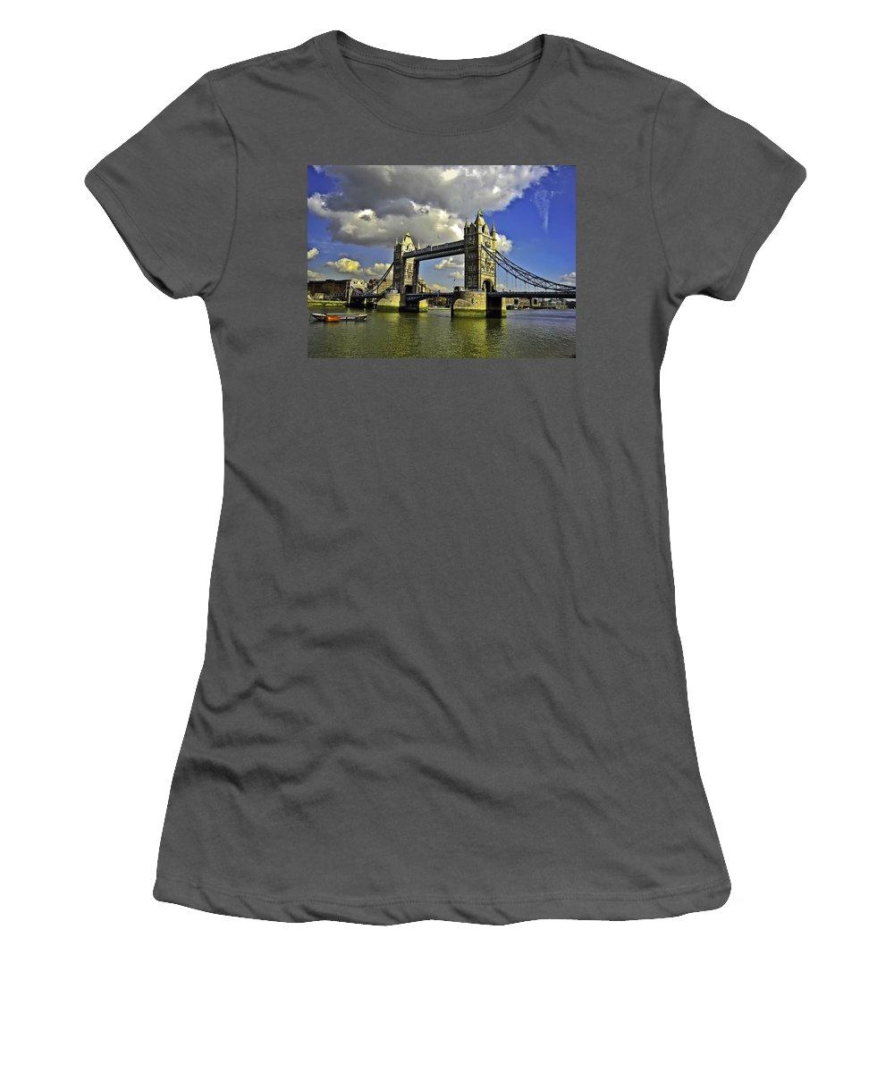 Bridge Women's T-Shirt (Athletic Fit) featuring the photograph Tower Bridge I by Madeline Ellis