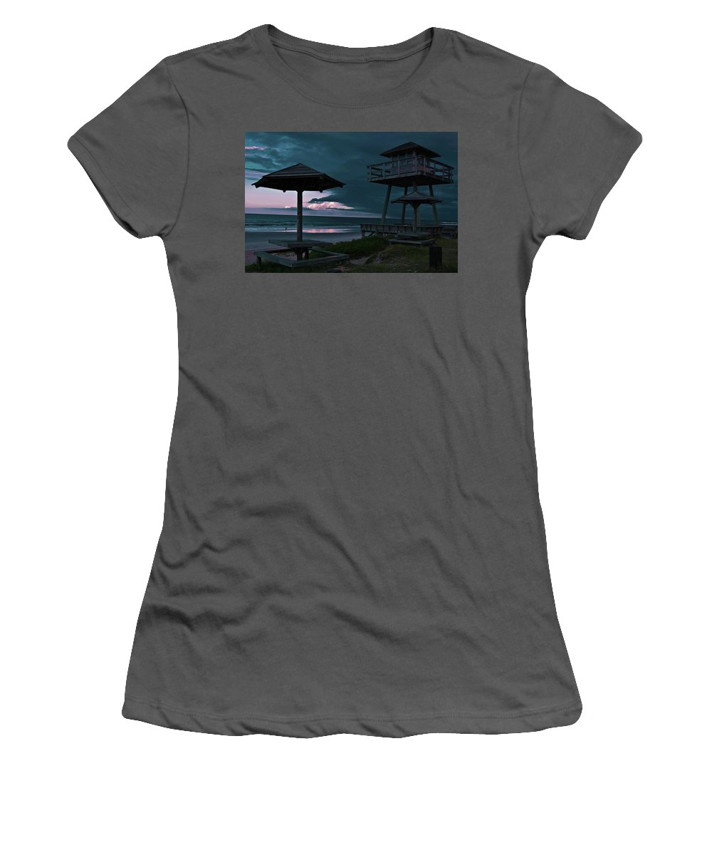 Shore Women's T-Shirt (Athletic Fit) featuring the photograph Tower Over The Shoreline by DigiArt Diaries by Vicky B Fuller