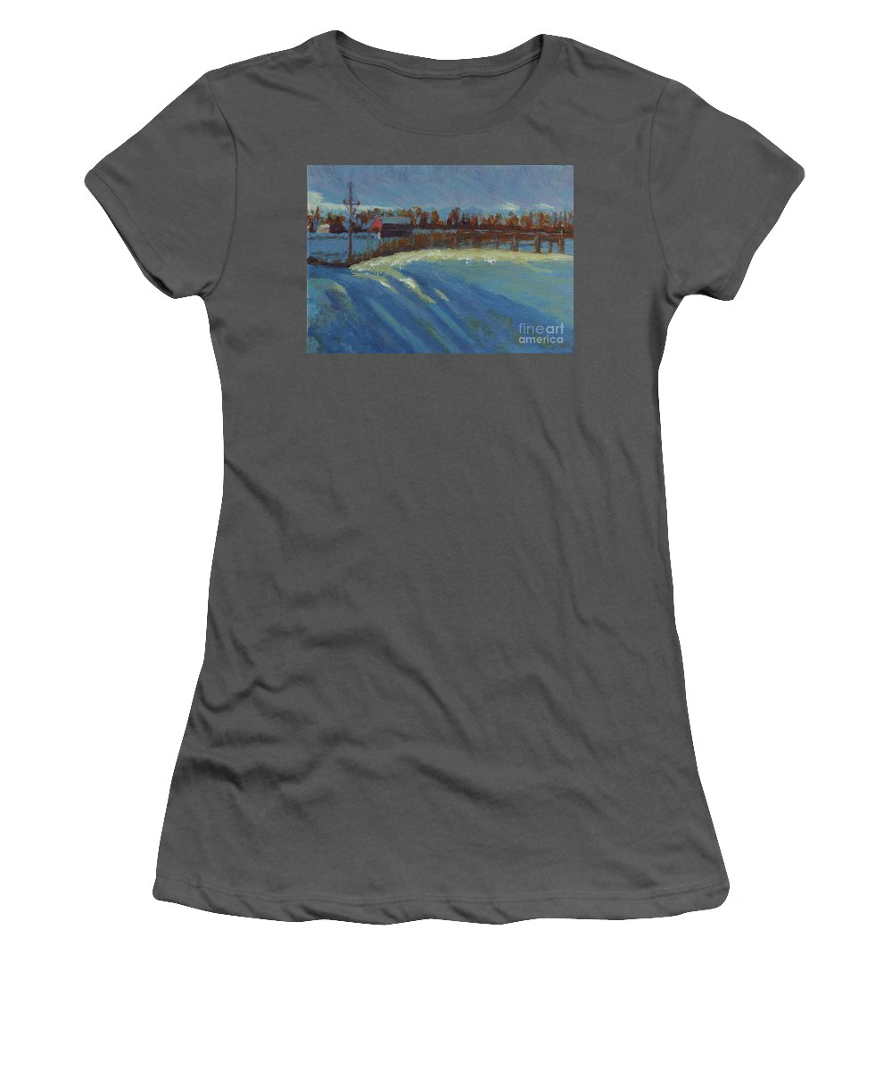 Snow Women's T-Shirt (Athletic Fit) featuring the painting Tracks In The Snow by Laura Toth