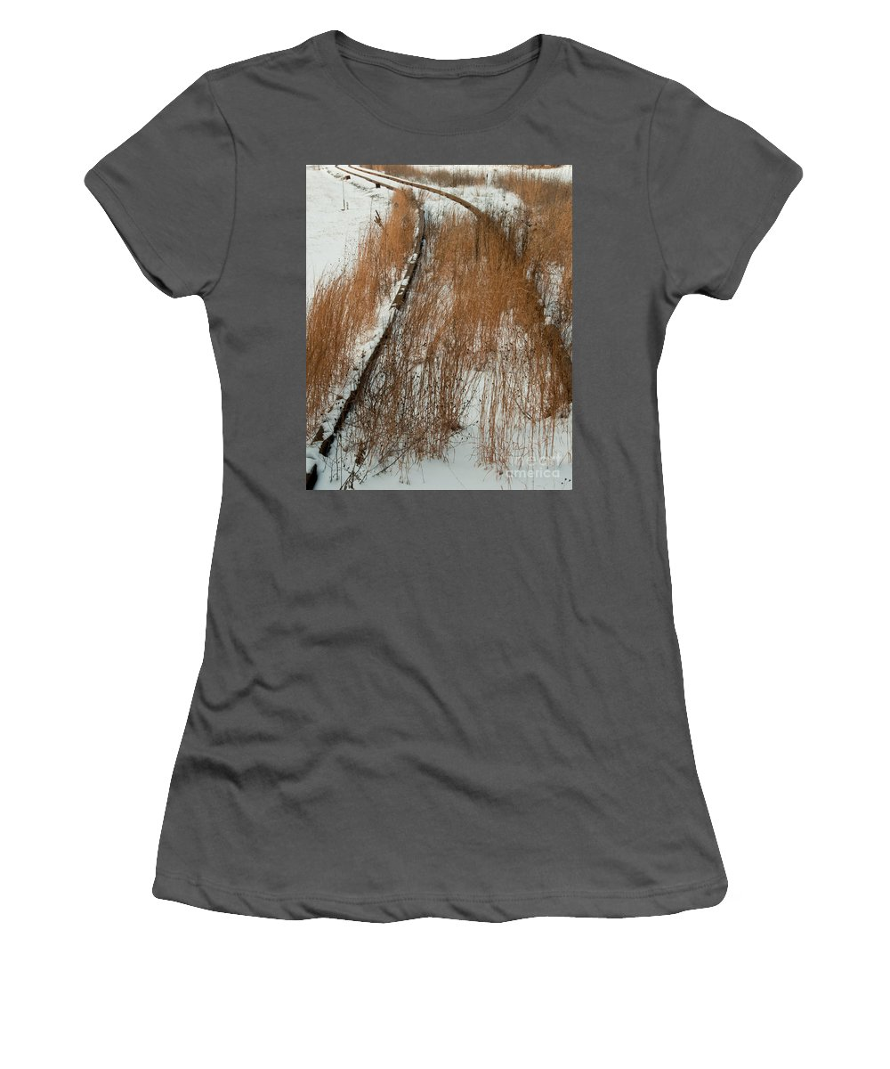 Train Women's T-Shirt (Athletic Fit) featuring the photograph Tracks To The Past by Scott Hafer