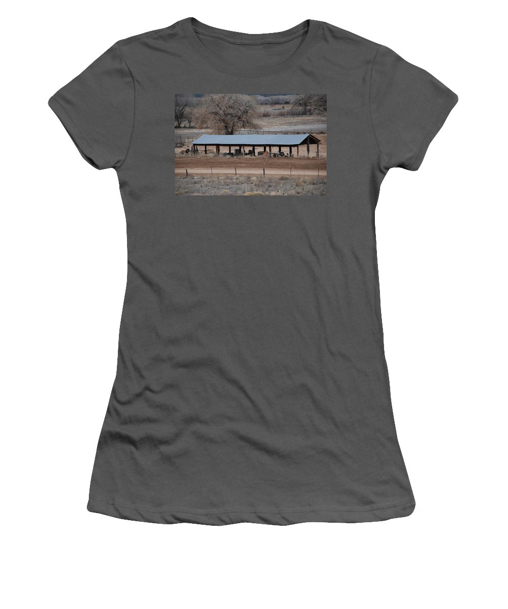 Architecture Women's T-Shirt (Athletic Fit) featuring the photograph Tractor Port On The Ranch by Rob Hans