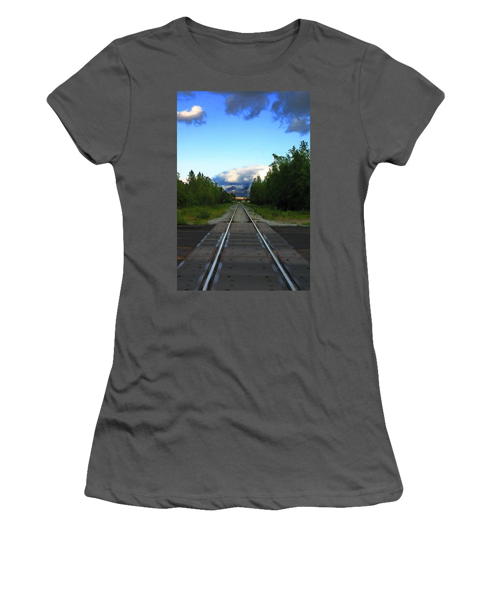 Train Women's T-Shirt (Athletic Fit) featuring the photograph Train Tracks Anchorage Alaska by Anthony Jones