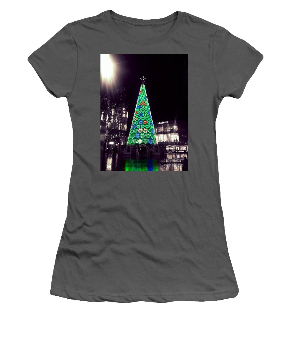 Tree Of Hearts Women's T-Shirt (Athletic Fit) featuring the photograph Tree Of Hearts In Green 2 by Joan-Violet Stretch