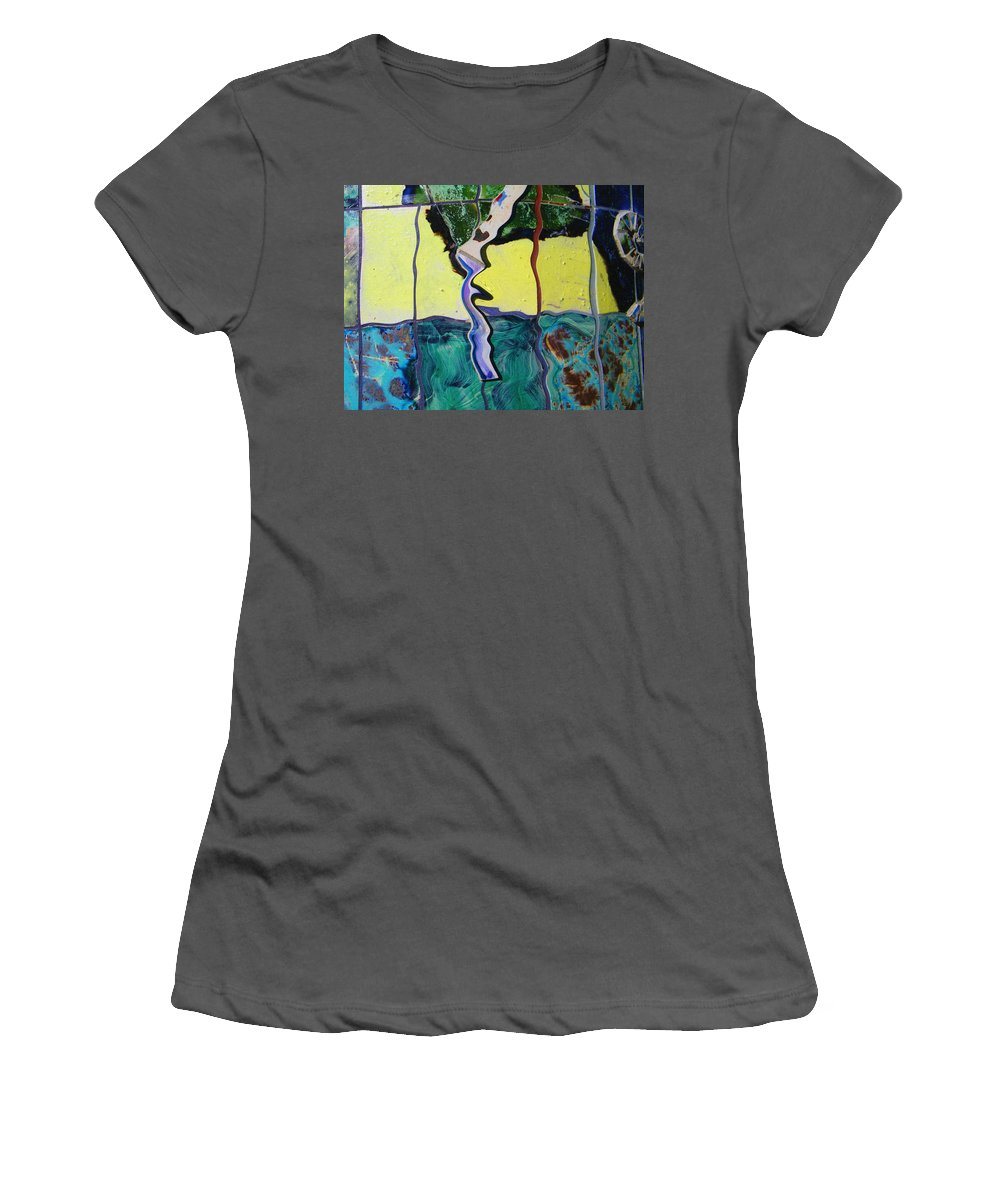 Abstract Women's T-Shirt (Athletic Fit) featuring the digital art Tree With Yellow Sky by Lenore Senior