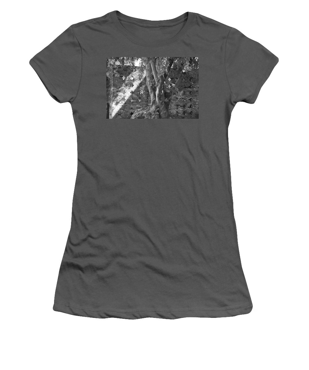 Trees Women's T-Shirt (Athletic Fit) featuring the photograph Trees And Brick Crosses by Rob Hans
