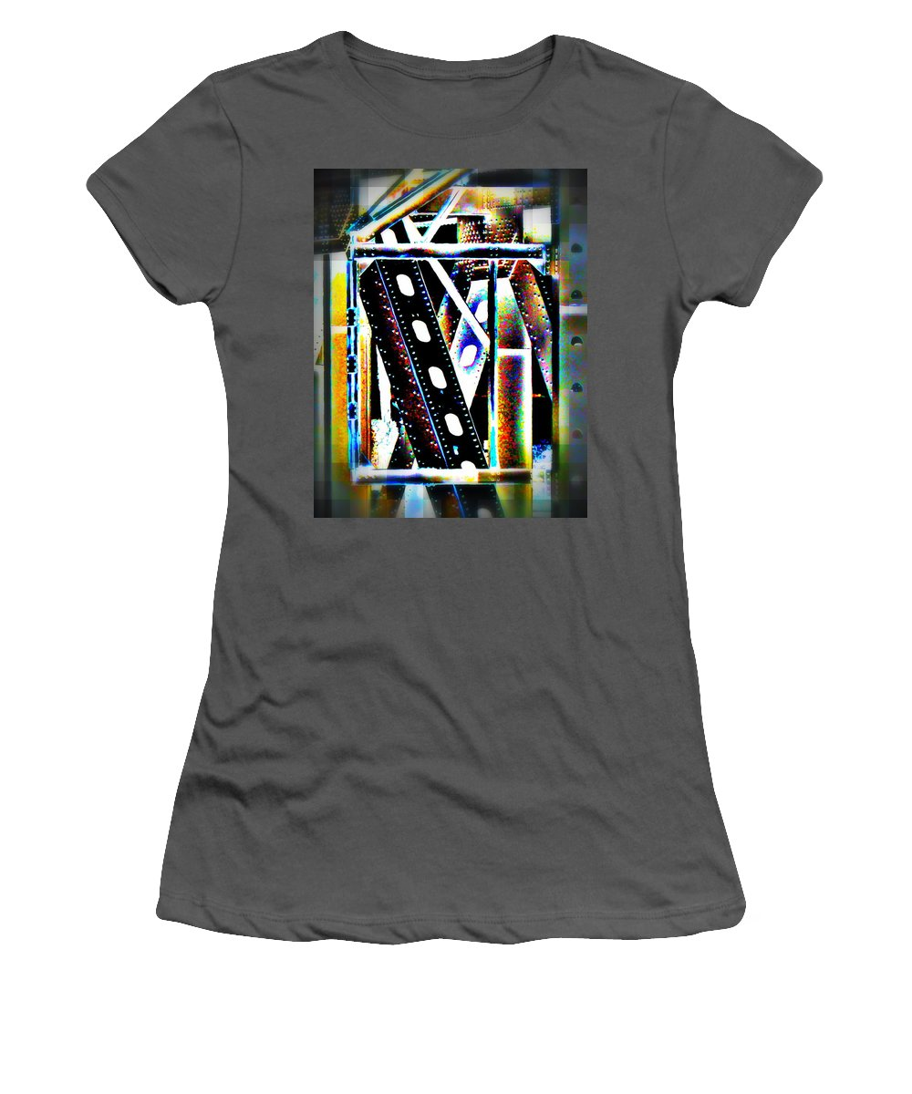 Train Trestle Women's T-Shirt (Athletic Fit) featuring the photograph Trestle Detail Black White Grey by Kimberly-Ann Talbert
