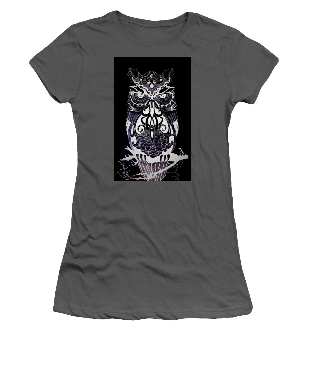 Women's T-Shirt (Athletic Fit) featuring the drawing Tribeowl Reverse by Larry Overstreet