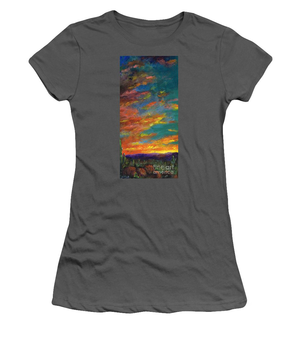 Desert Women's T-Shirt (Athletic Fit) featuring the painting Triptych 1 Desert Sunset by Frances Marino
