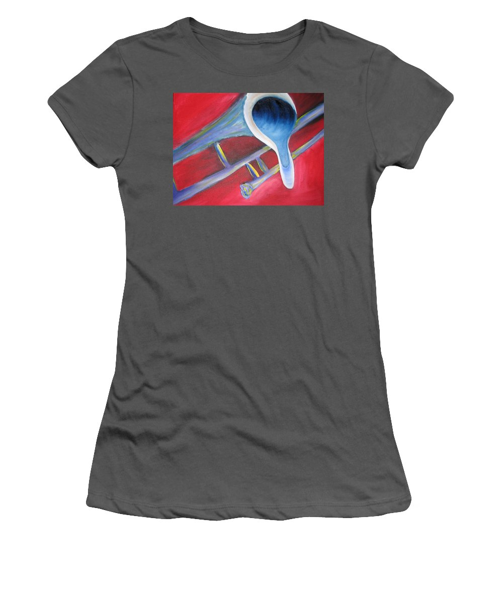 Oil On Canvas Women's T-Shirt (Athletic Fit) featuring the painting Trombone by Michael Mooney