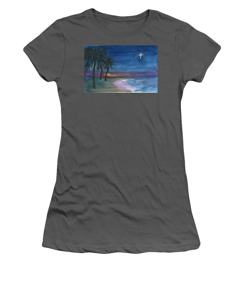 Palm Trees Women's T-Shirt (Athletic Fit) featuring the painting Tropical Christmas by Donna Walsh
