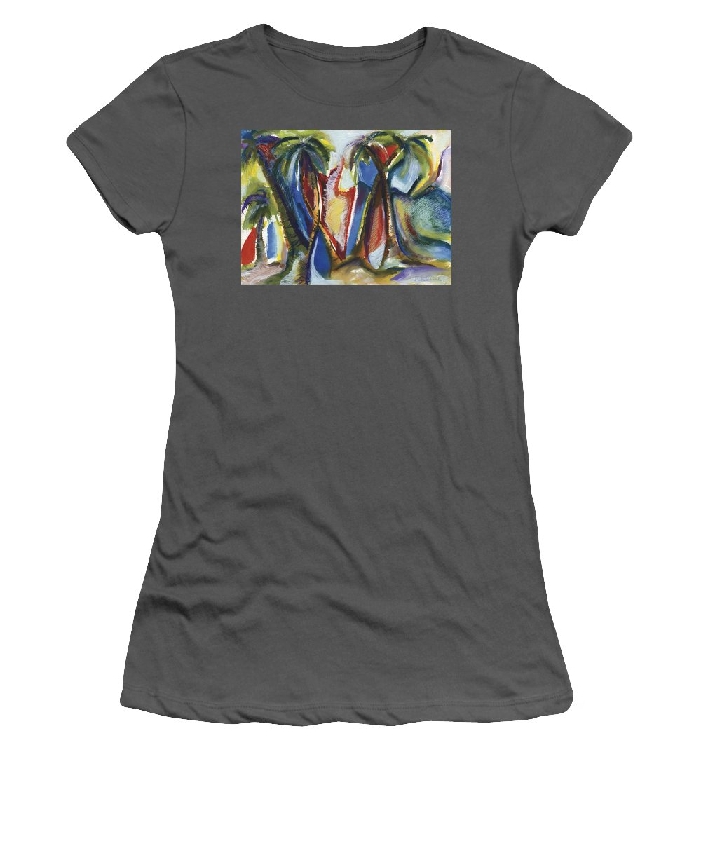 Abstract Women's T-Shirt (Athletic Fit) featuring the painting Tropical Palm Rhumba by Kerryn Madsen Pietsch