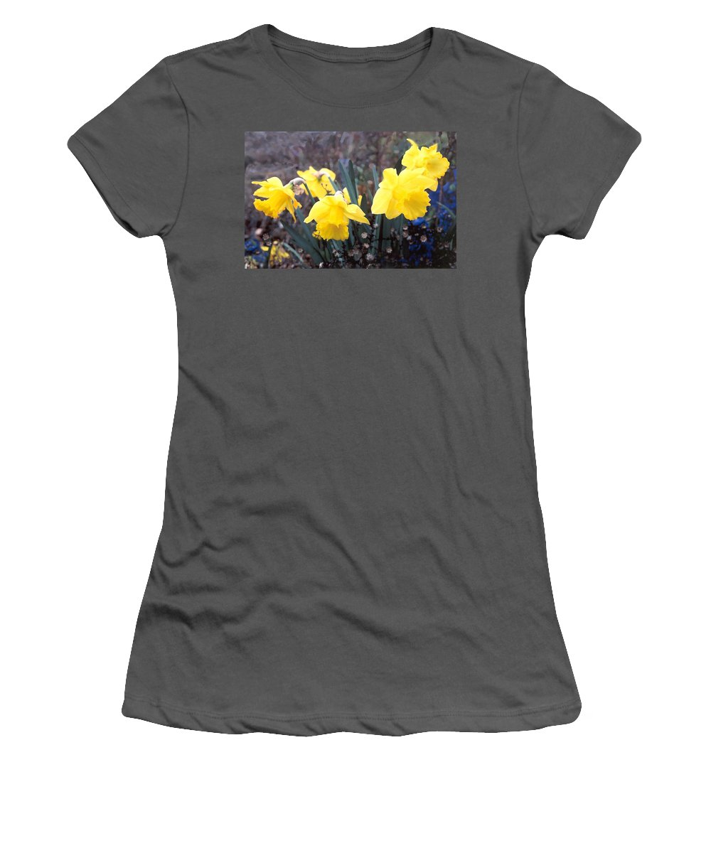 Flowes Women's T-Shirt (Athletic Fit) featuring the photograph Trumpets Of Spring by Steve Karol