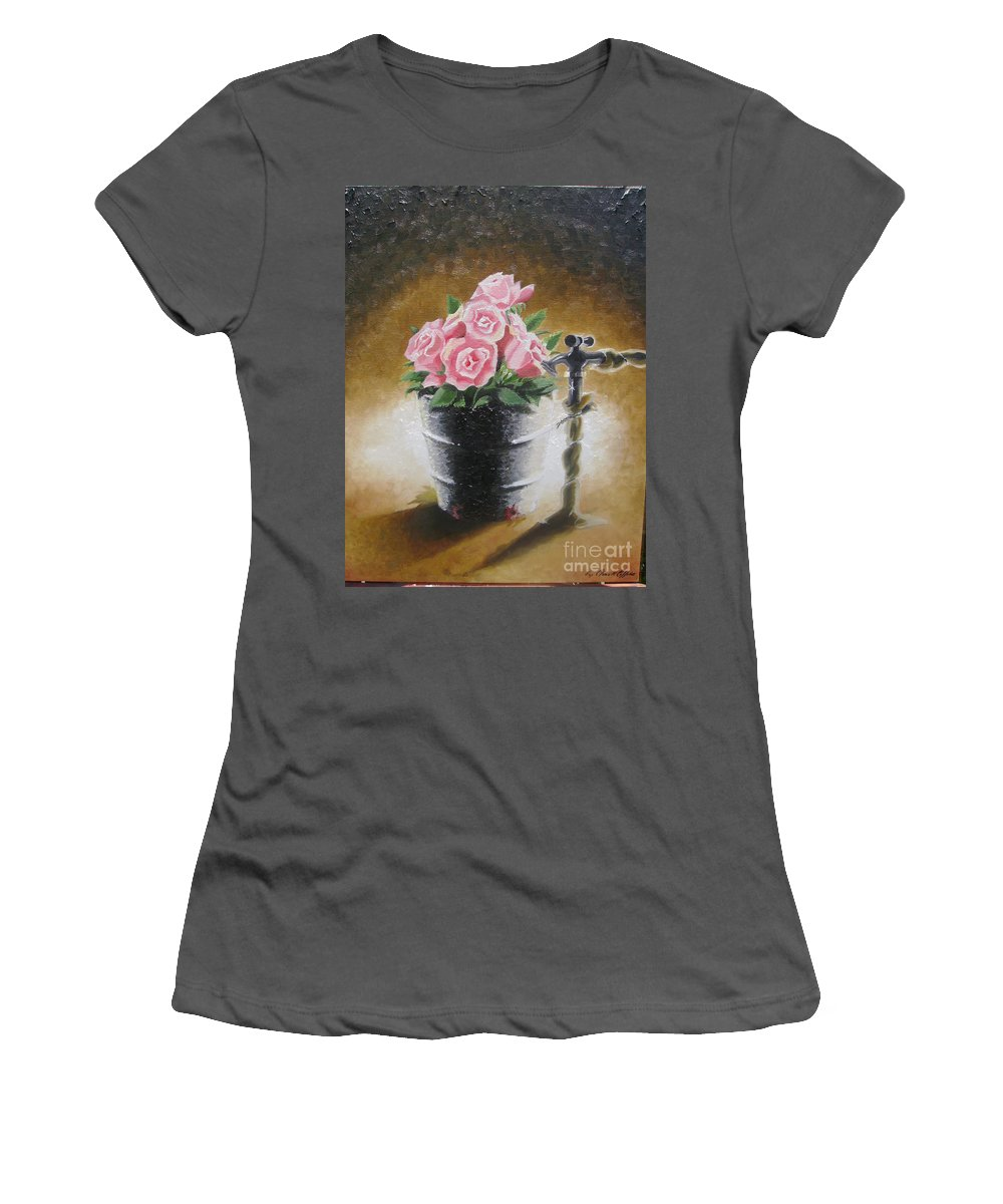 Flowers Women's T-Shirt (Athletic Fit) featuring the painting Tub Of Roses by Chuck Collins