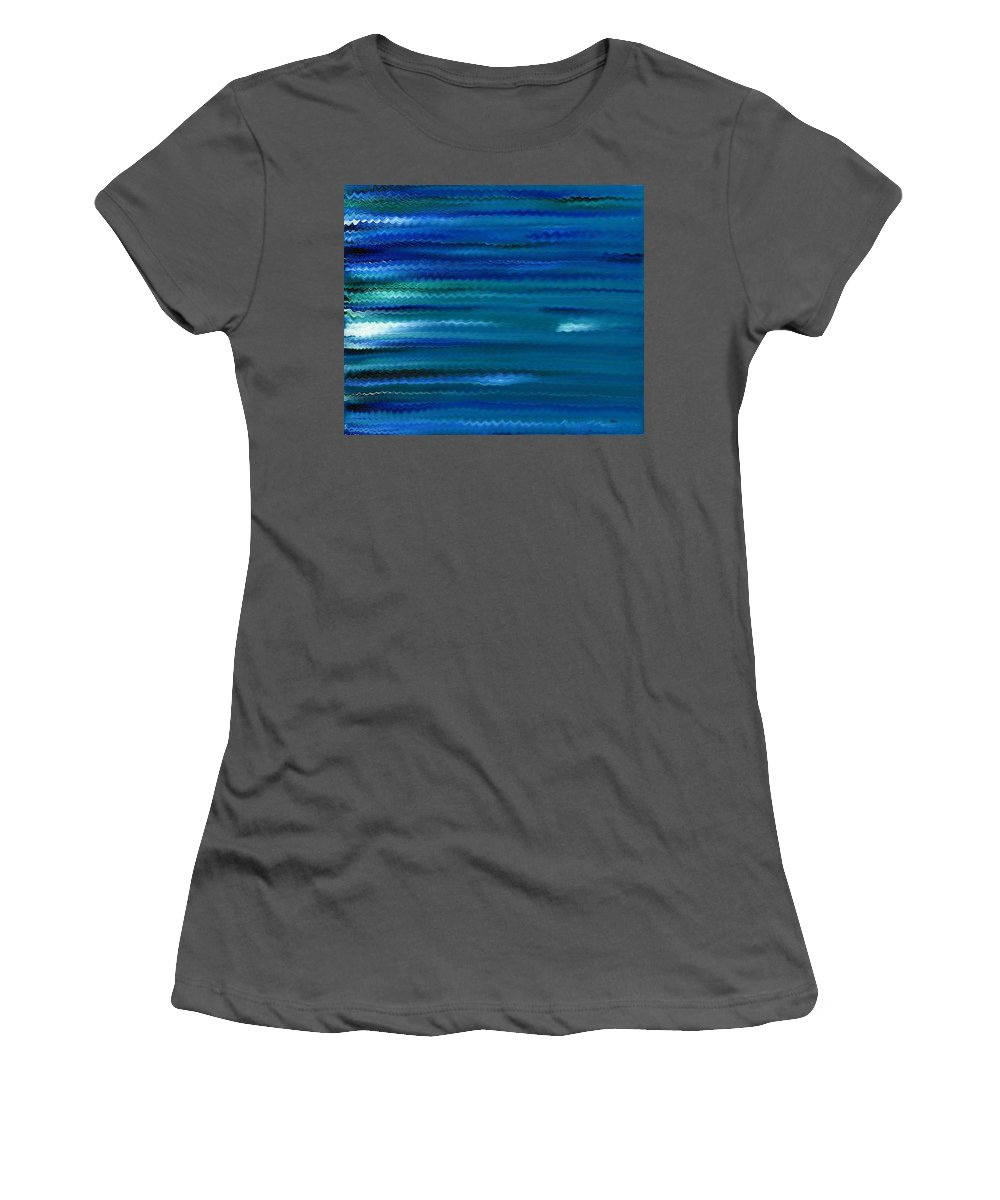 Abstract Women's T-Shirt (Athletic Fit) featuring the painting Turquoise Waves by Hakon Soreide