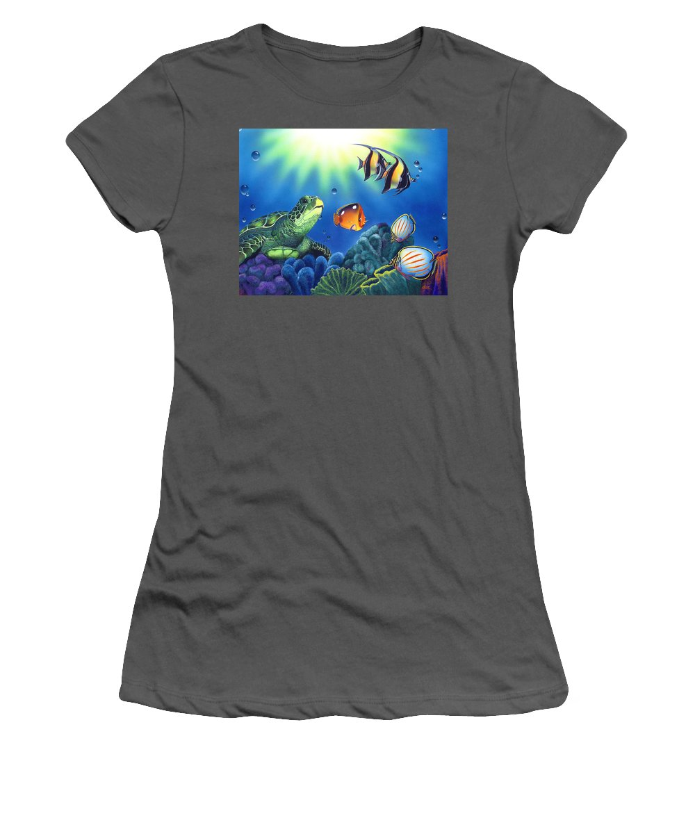 Turtle Women's T-Shirt (Athletic Fit) featuring the painting Turtle Dreams by Angie Hamlin
