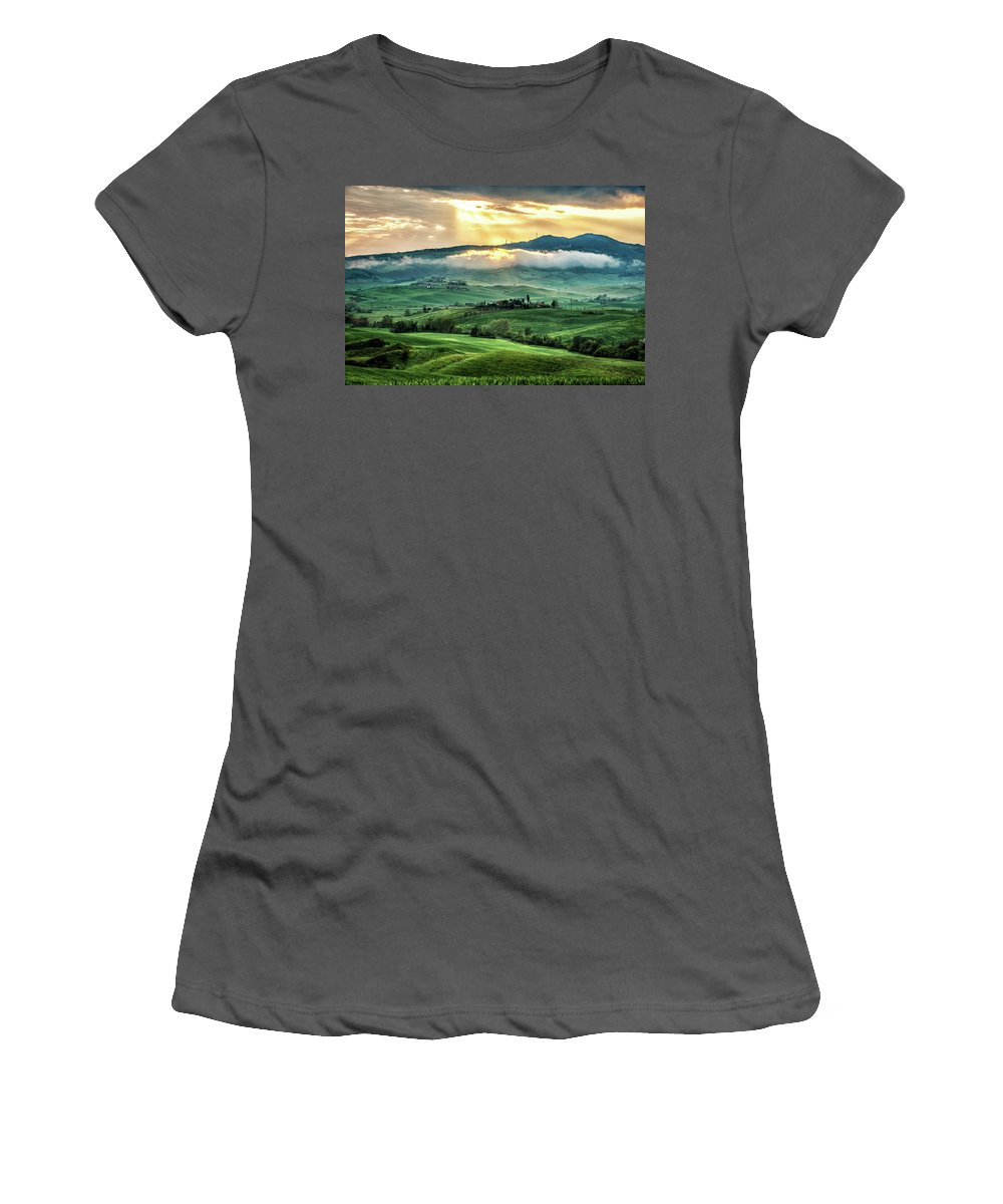 Clouds Women's T-Shirt (Athletic Fit) featuring the photograph Tuscany Sunburst- by Laurent Fox