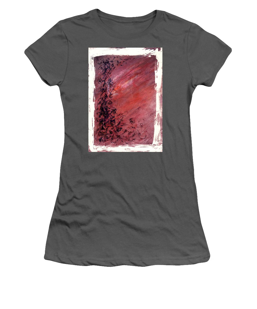 Floral Women's T-Shirt (Athletic Fit) featuring the painting Twilight Rose by Rachel Christine Nowicki