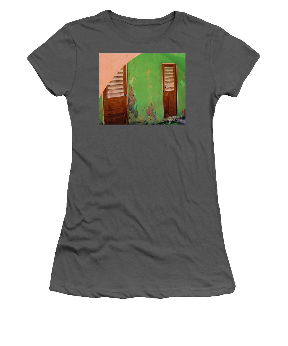 Doors Women's T-Shirt (Athletic Fit) featuring the photograph Twin Doors by Debbi Granruth