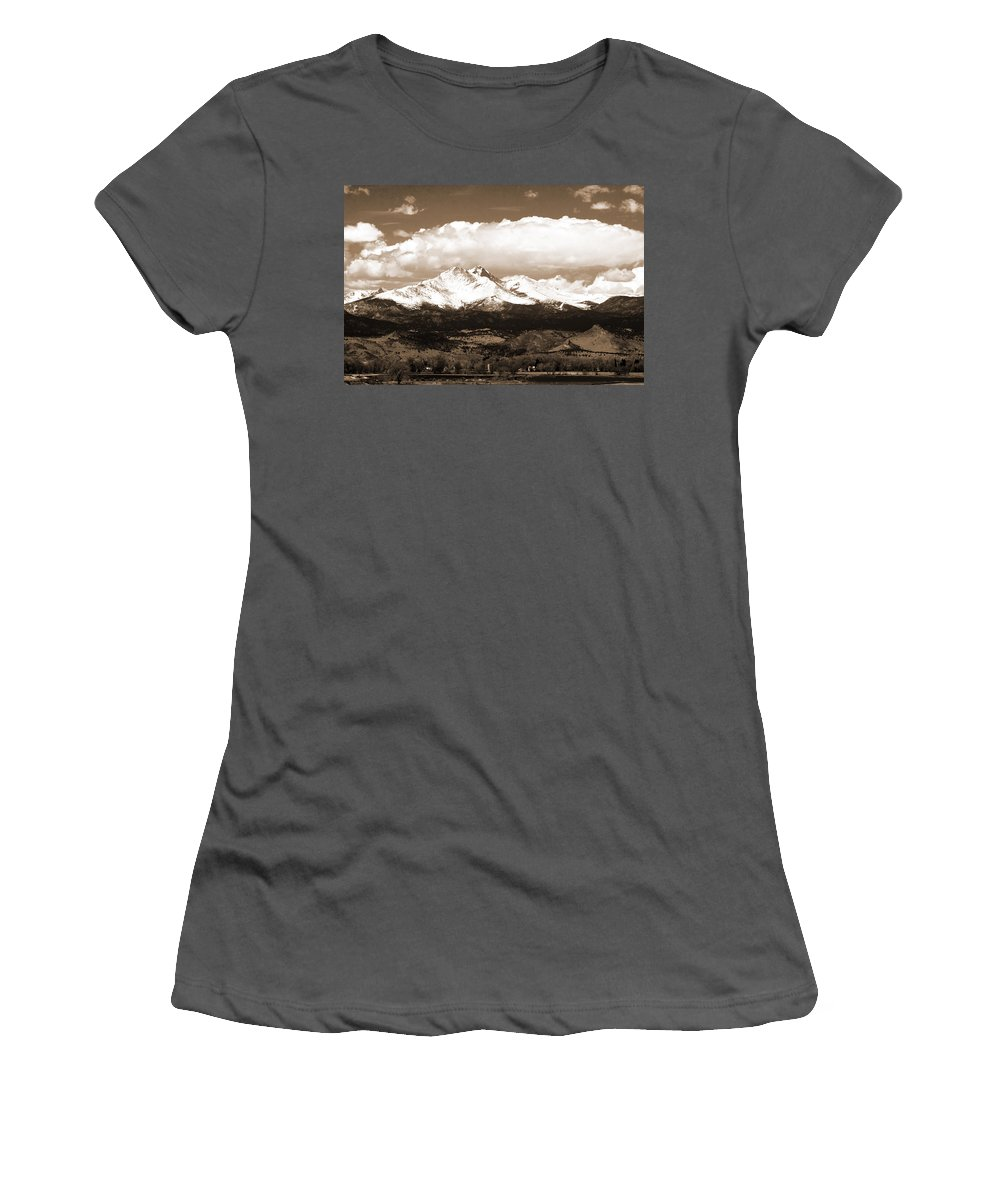 Twin Peeks Women's T-Shirt (Athletic Fit) featuring the photograph Twin Peaks In Sepia by James BO Insogna