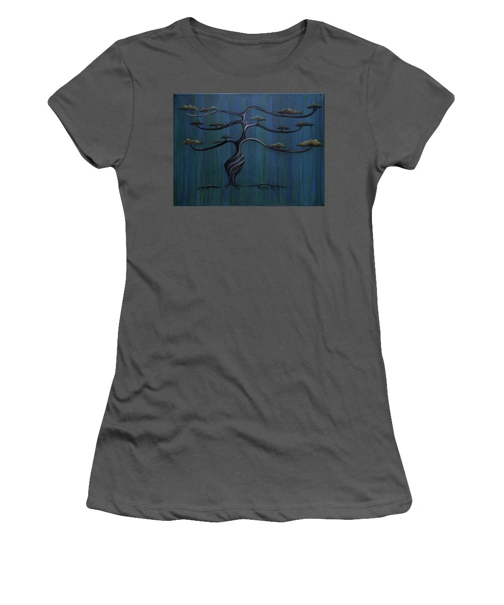 Tree Women's T-Shirt (Athletic Fit) featuring the painting Twisted Oak by Kelly Jade King