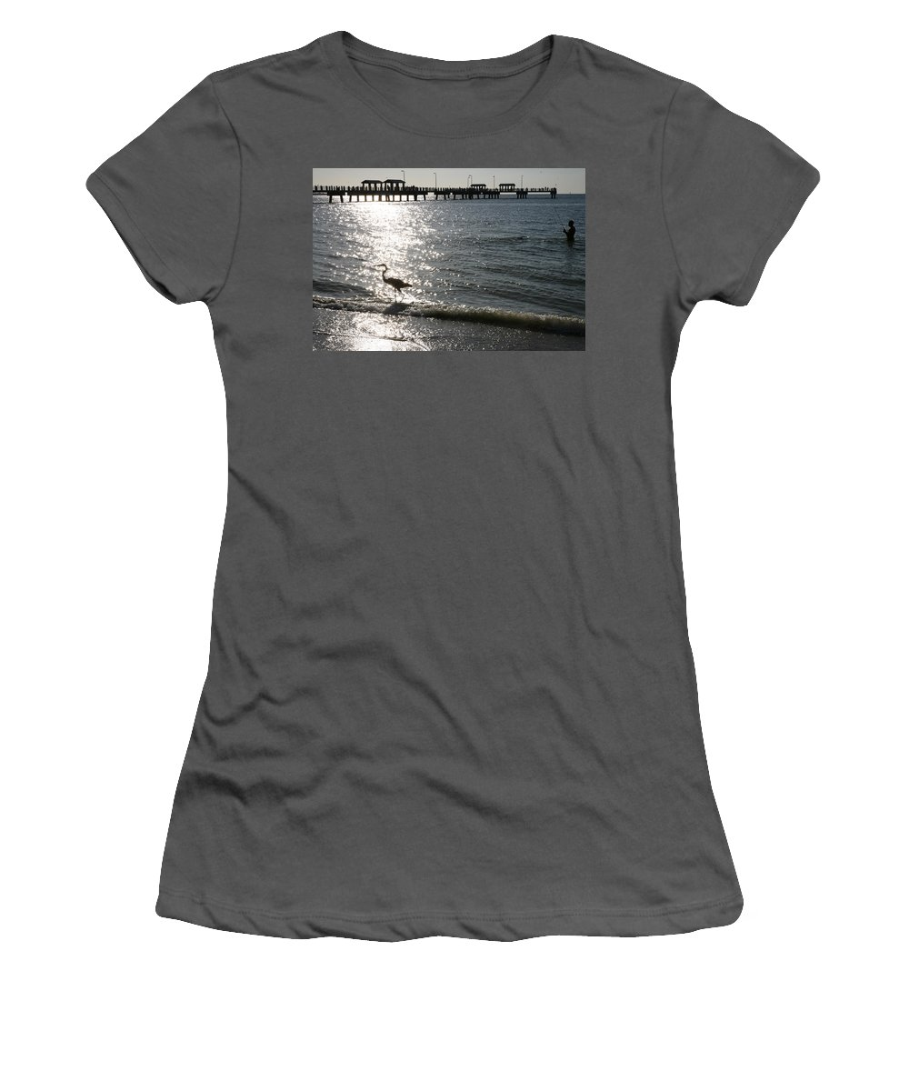 Fort De Soto Women's T-Shirt (Athletic Fit) featuring the photograph Two Anglers At Fort De Soto by Mal Bray