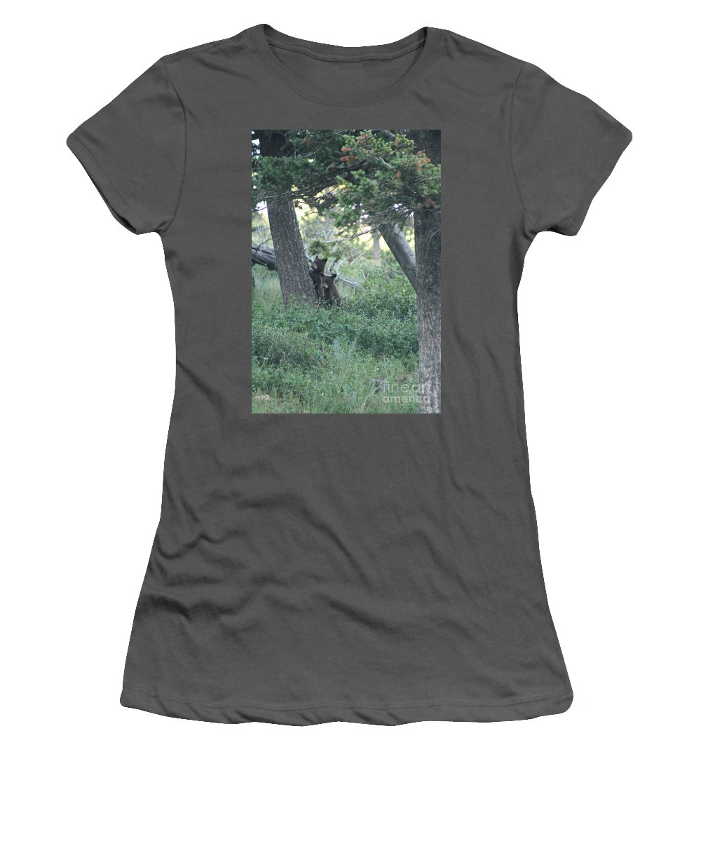 Two Women's T-Shirt (Athletic Fit) featuring the photograph Two Bear Cubs by Mary Mikawoz