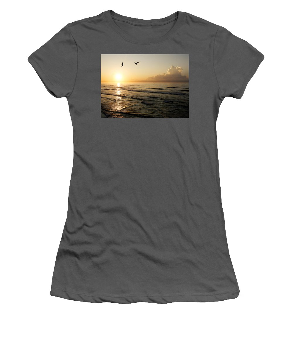Beach Women's T-Shirt (Athletic Fit) featuring the photograph Two Birds At Breakast by Marilyn Hunt