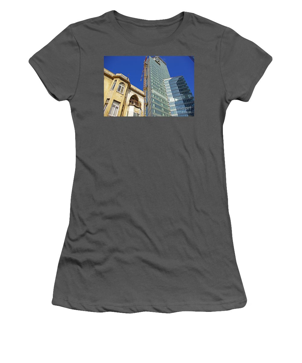Building Women's T-Shirt (Athletic Fit) featuring the photograph Two Buildings.. by Zalman Latzkovich
