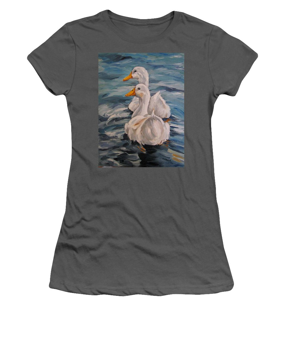 White Ducks Women's T-Shirt (Athletic Fit) featuring the painting Two By Two by Cheryl Pass