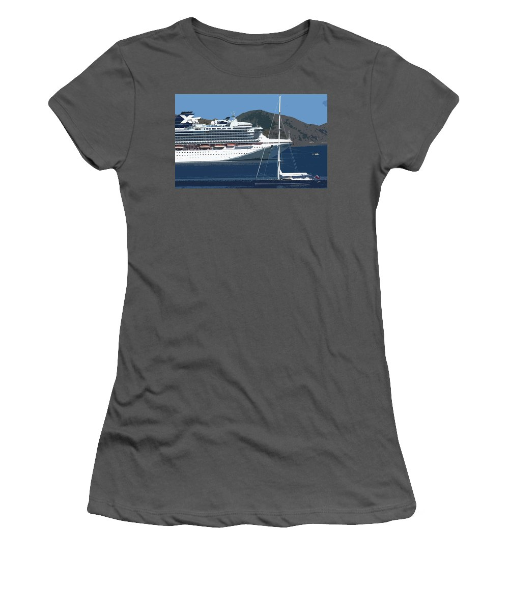 Carnival Women's T-Shirt (Athletic Fit) featuring the photograph Two Ladies Passing by Ian MacDonald