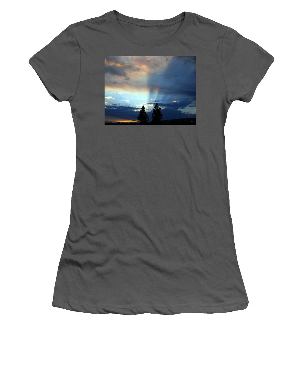 Sunset Women's T-Shirt (Athletic Fit) featuring the photograph Two-pine Sunset by Will Borden