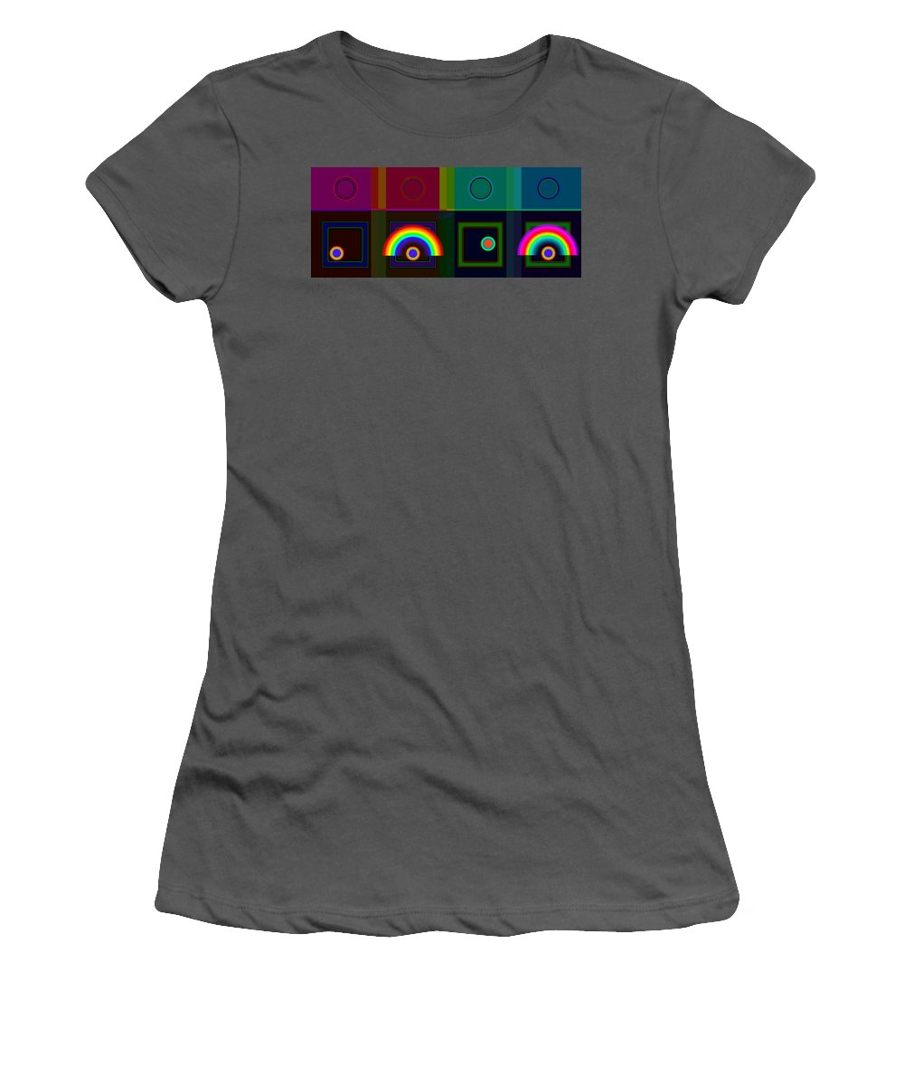 Classical Women's T-Shirt (Athletic Fit) featuring the digital art Two Rainbows by Charles Stuart