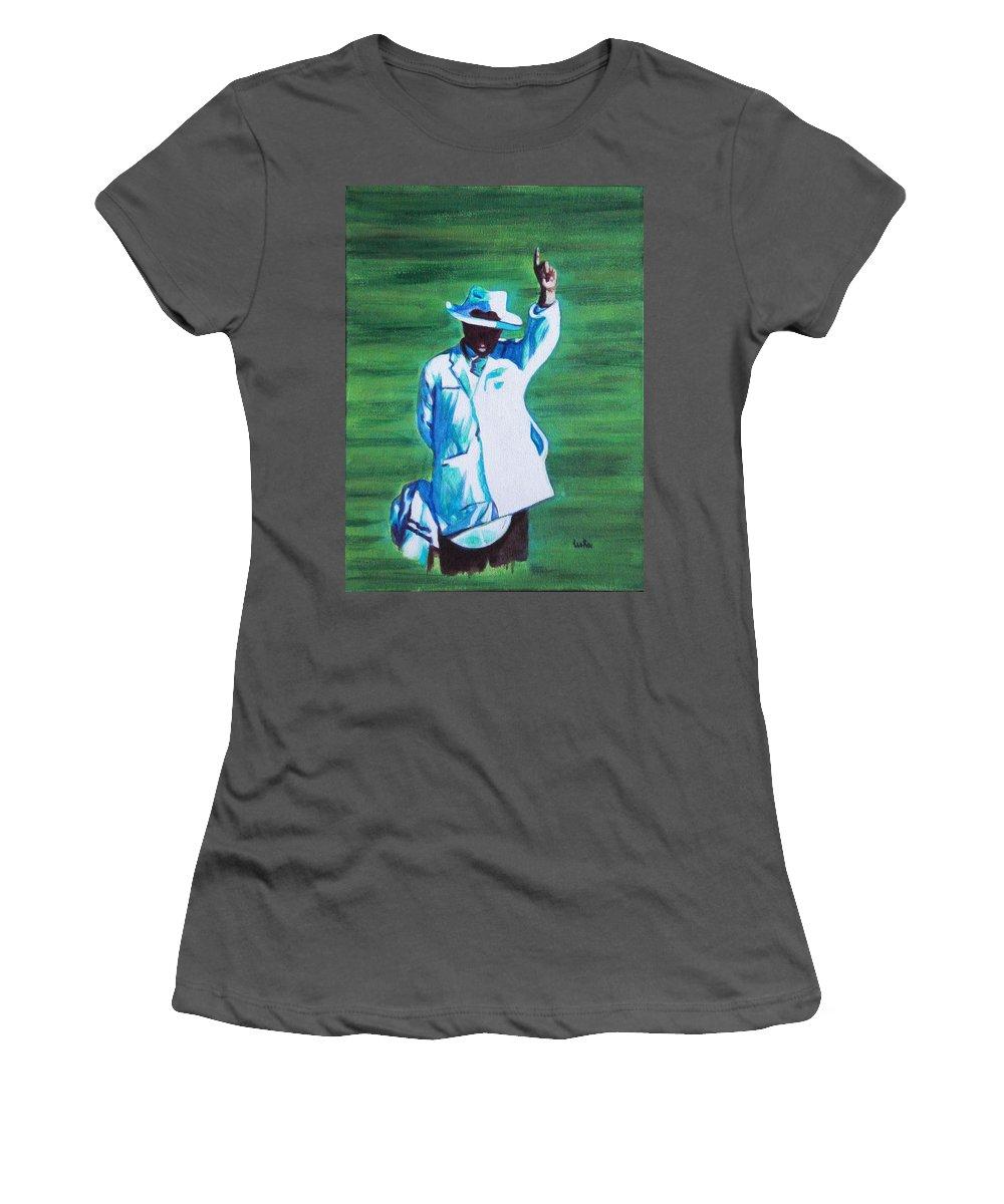 Usha Women's T-Shirt (Athletic Fit) featuring the painting Umpiring by Usha Shantharam