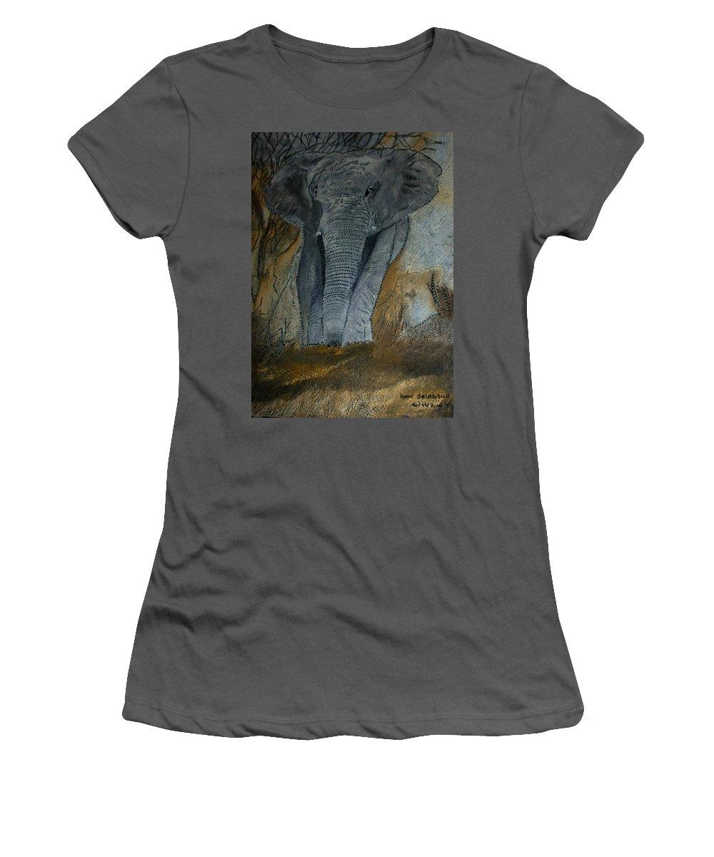 �l�phant Women's T-Shirt (Athletic Fit) featuring the painting Un Elephant Ca Trompe Enormement by Anne Bazabidila