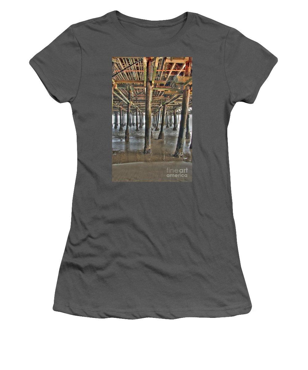 Under The Boardwalk Women's T-Shirt (Athletic Fit) featuring the photograph Under The Boardwalk Pier Sunbeams by David Zanzinger