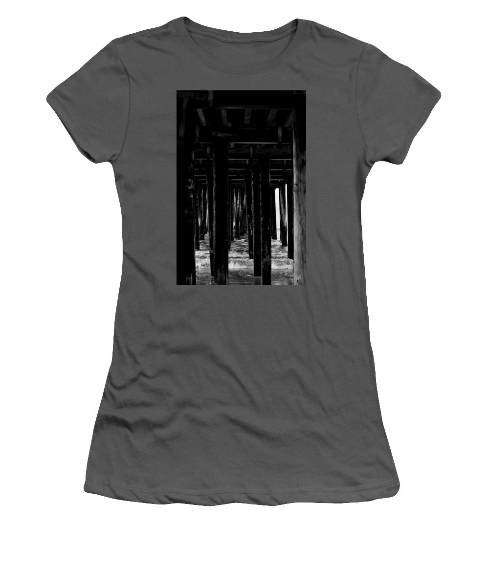 Portrait Women's T-Shirt (Athletic Fit) featuring the photograph Under The Boardwalk by Shannon Nickerson