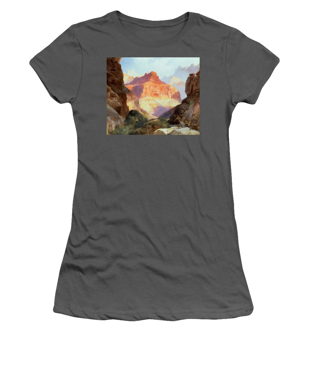 Under Under The Red Wall Women's T-Shirt (Athletic Fit) featuring the painting Under The Red Wall by Thomas Moran