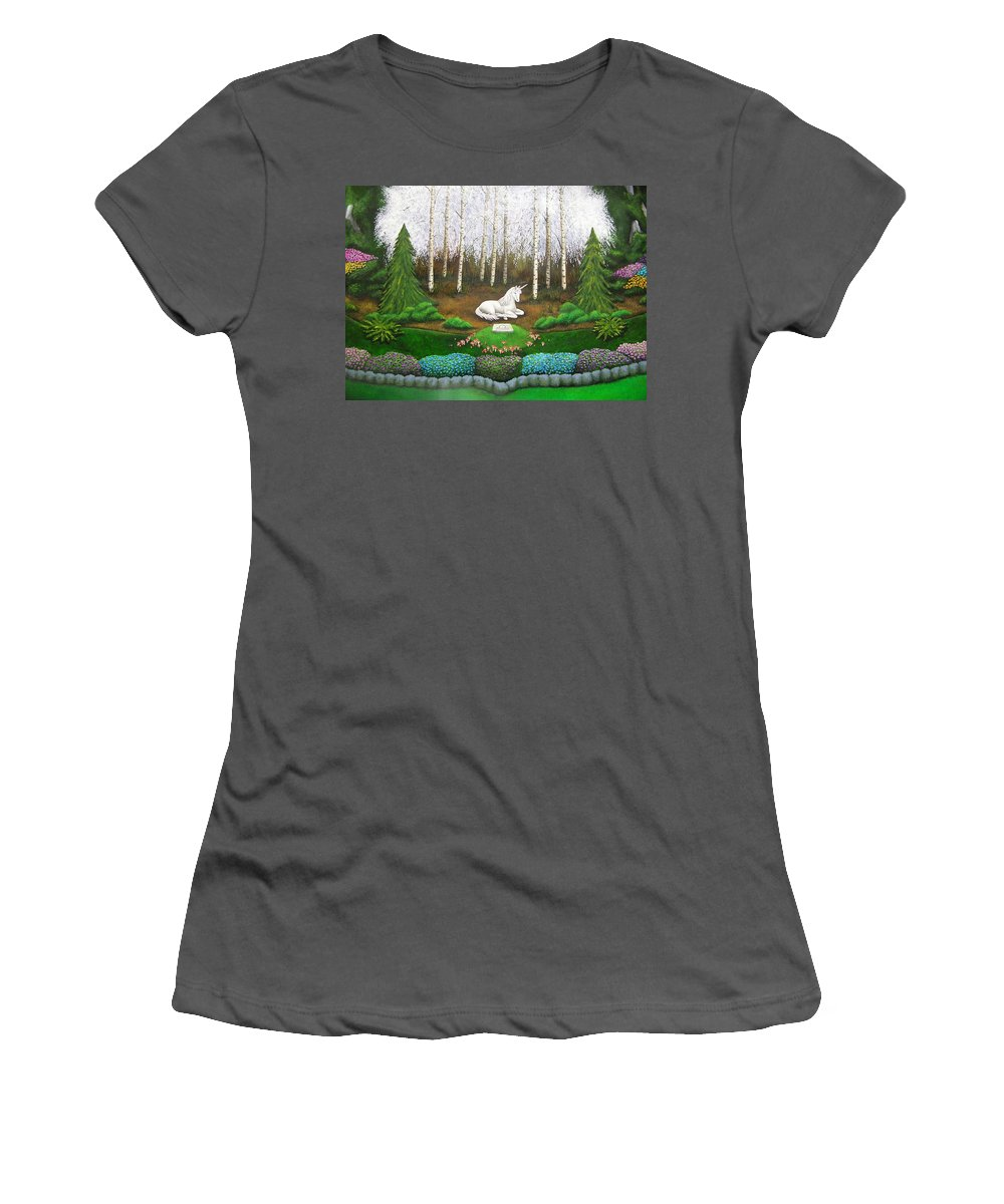 Unicorn Women's T-Shirt (Athletic Fit) featuring the painting Unicorn by Cindy D Chinn