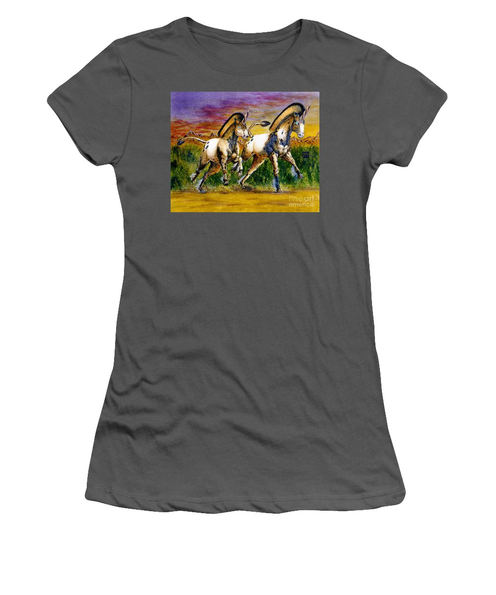 Artwork Women's T-Shirt (Athletic Fit) featuring the painting Unicorns In Sunset by Melissa A Benson