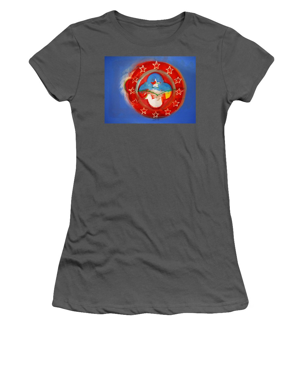 Symbol Women's T-Shirt (Athletic Fit) featuring the painting Union Blue by Charles Stuart