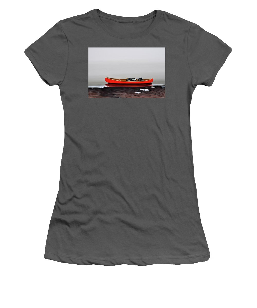 Landscape Paintings Women's T-Shirt (Athletic Fit) featuring the painting Until The Fog Lifts by Kenneth M Kirsch