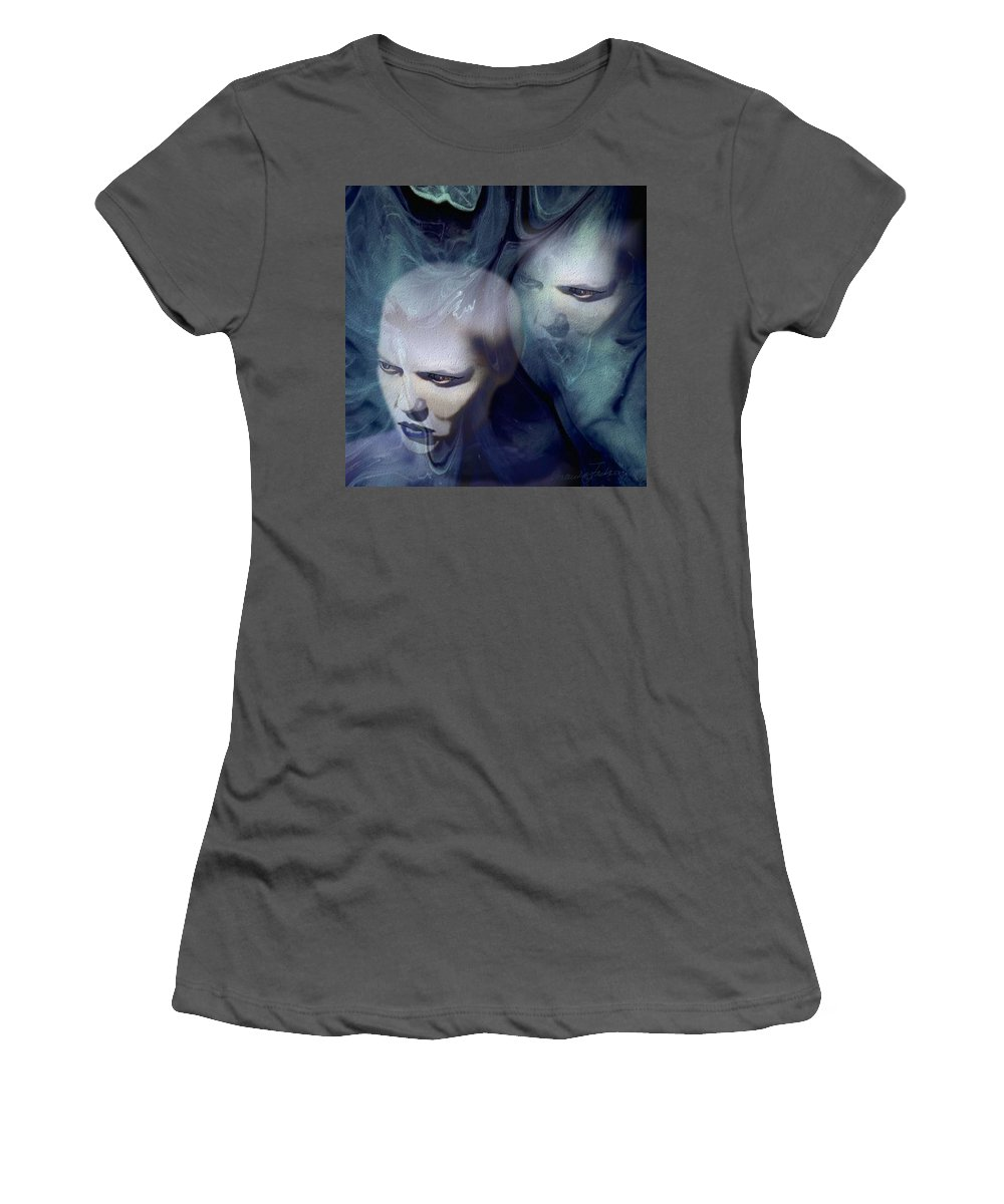 Dream Afterlife Experience Blue Smoke Women's T-Shirt (Athletic Fit) featuring the digital art Untitled by Veronica Jackson