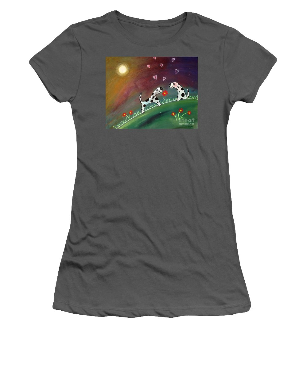 Dogs Women's T-Shirt (Athletic Fit) featuring the painting Up On The Hill by Caroline Peacock
