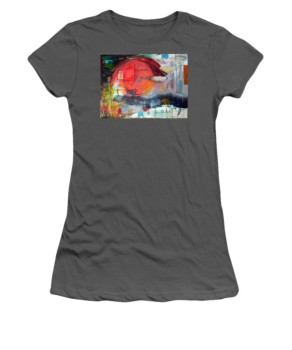 Abstract Landscape Women's T-Shirt (Athletic Fit) featuring the mixed media Urban Myth by Jane Clatworthy