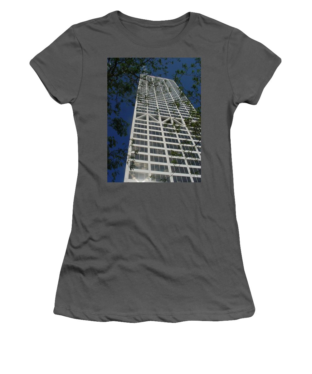 Us Bank Women's T-Shirt (Athletic Fit) featuring the photograph Us Bank With Trees by Anita Burgermeister