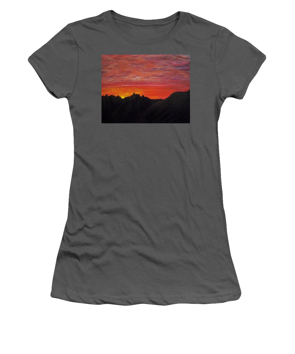 Sunset Women's T-Shirt (Athletic Fit) featuring the painting Utah Sunset by Michael Cuozzo