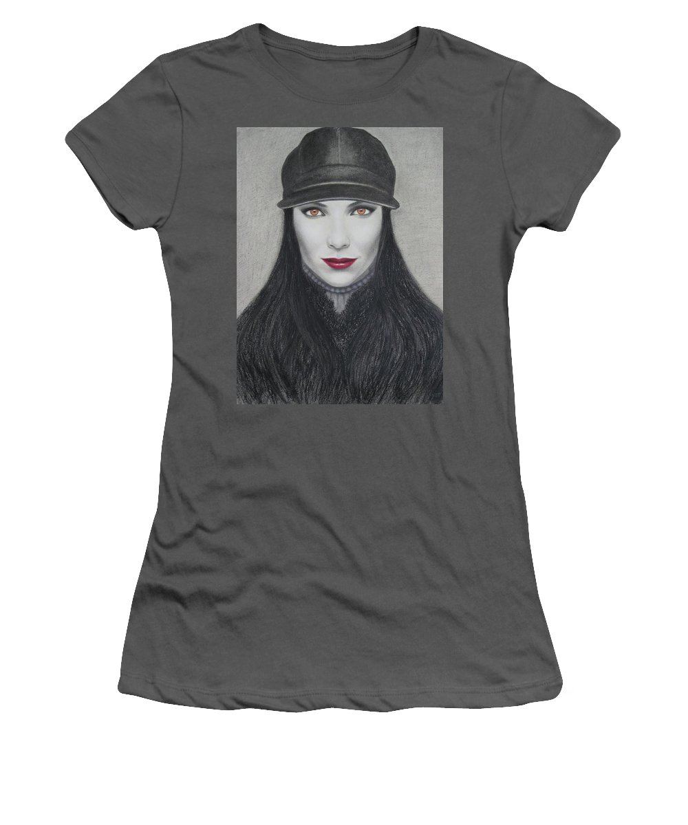 Vampire Women's T-Shirt (Athletic Fit) featuring the painting Vampire by Lynet McDonald