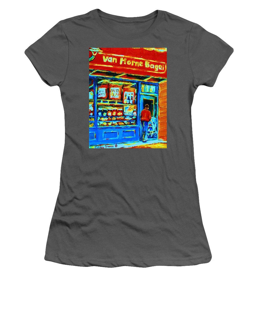 Van Horne Bagel Women's T-Shirt (Athletic Fit) featuring the painting Van Horne Bagel by Carole Spandau