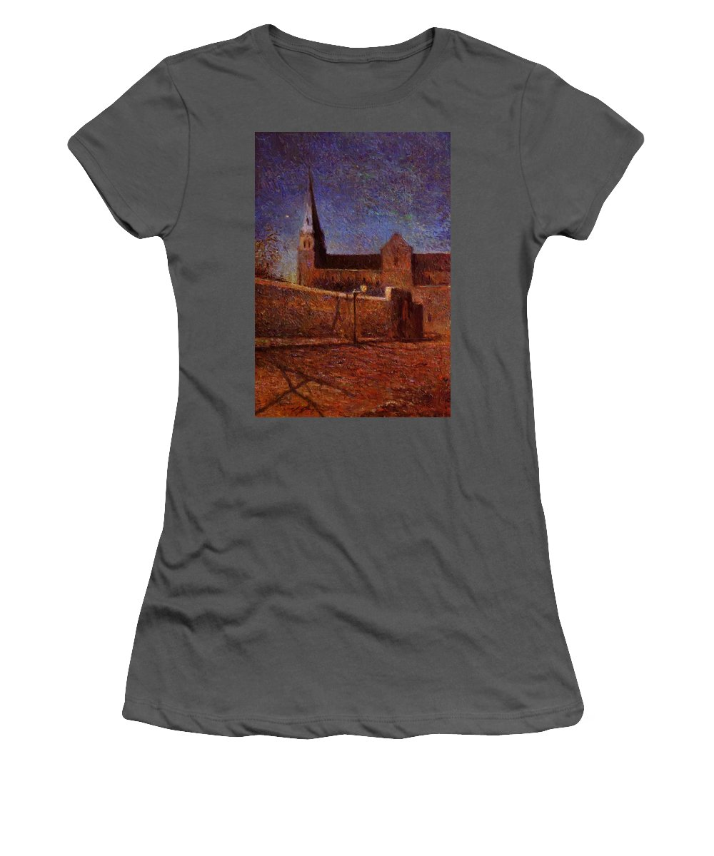 Vaugirard Women's T-Shirt (Athletic Fit) featuring the painting Vaugirard Church 1879 by Gauguin Paul