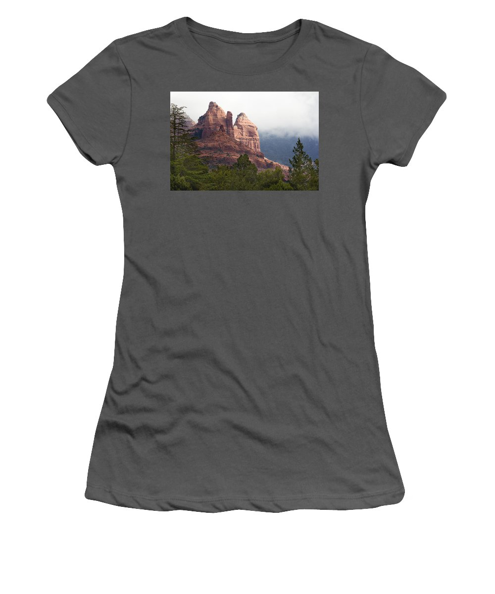 Mountains Women's T-Shirt (Athletic Fit) featuring the photograph Veiled In Clouds by Phyllis Denton